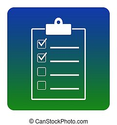 Checklist sign illustration. Vector. White icon at green-blue gradient square with rounded corners on white background. Isolated.