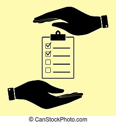 Save or protect symbol by hands. - Checklist sign. Save or...