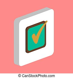 Checklist Simple vector icon. Illustration symbol design template for web mobile UI element. Perfect color isometric pictogram on 3d white square. Checklist icons for business project.