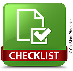 Checklist soft green square button red ribbon in middle