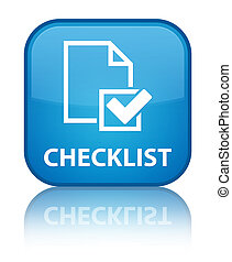 Checklist special cyan blue square button