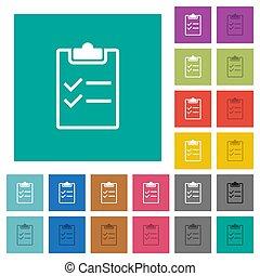 Checklist square flat multi colored icons