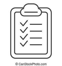 Checklist thin line icon. List vector illustration isolated on white. Checkboard outline style design, designed for web and app. Eps 10.