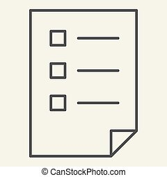 Checklist thin line icon. List vector illustration isolated on white. Document outline style design, designed for web and app. Eps 10.