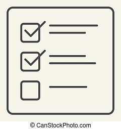Checklist thin line icon. List vector illustration isolated on white. Paper outline style design, designed for web and app. Eps 10.