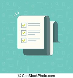 Checklist vector illustration, cartoon paper sheet with complete to do list checkmarks, idea of feedback report, success research, survey or questionnaire test form, assess or evaluation document