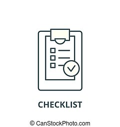 Checklist vector line icon, linear concept, outline sign, symbol