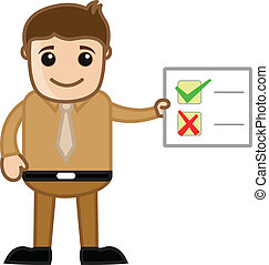 checklist, viser, mand