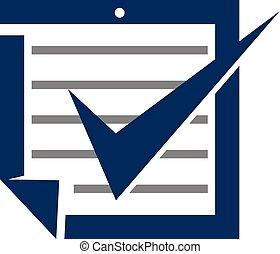 checklist, wektor, projektować, szablon, logo, dokument