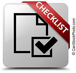 Checklist white square button red ribbon in corner