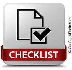 Checklist white square button red ribbon in middle