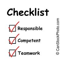 Checklist with checkboxes ticked - Checklist used in ...