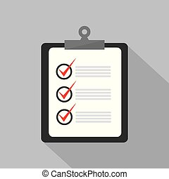 Checklist with pen icon. White flat icon with long shadow on background