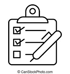 Checklist with pen thin line icon. Questionnaire vector illustration isolated on white. Control process outline style design, designed for web and app. Eps 10.
