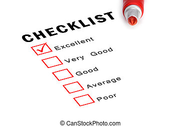 Checklist with red marker and checked boxes. - Checklist...