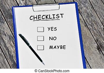 Checklist word on white paper