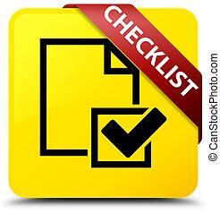 Checklist yellow square button red ribbon in corner