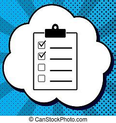 checklist, znak, illustration., vector., czarnoskóry, ikona,...