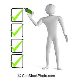 checklista, 3, markör, fästing, teckning, man