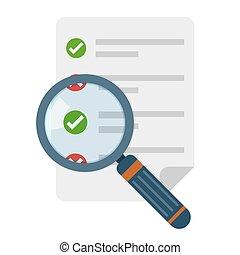 checklista, icon., vektor, illustration., förstoringsapparat