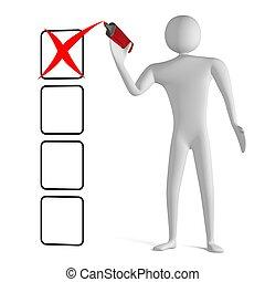 checklista, markör, x, man, teckning, 3