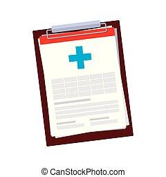 checklista, medicinsk, beställa, ikon