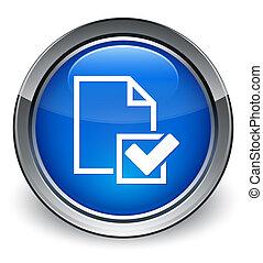 checklista, sida ikon, glatt, blå, knapp