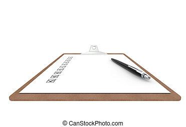 checklista, utsikt., skrivplatta, sida, pen.