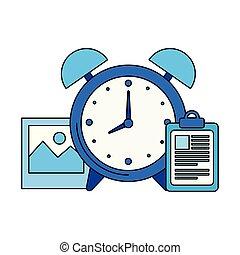 checklista, väckarklocka, ikon