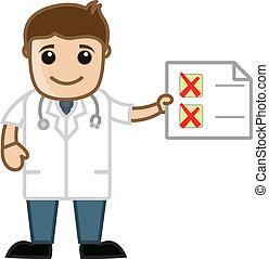 checklista, visande, vektor, läkare
