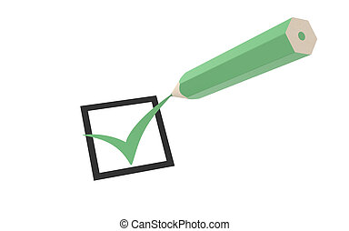 Checkmark and a Pencil - Checkmark and a Green Pencil