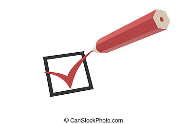 Checkmark and a Pencil - Checkmark and a Red Pencil