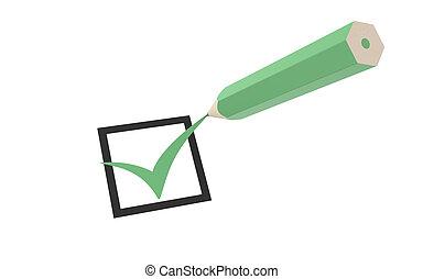 Checkmark and a Pencil - Checkmark and a Green Pencil