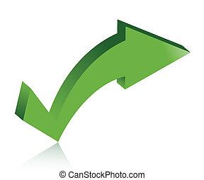 checkmark arrow illustration design over white