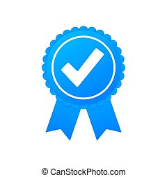 Checkmark. Blue approved star sticker on white background. Vector stock illustration.