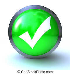 checkmark green button isolated on white background