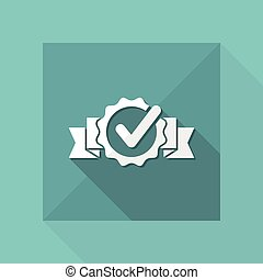 Checkmark certificate - Vector flat minimal icon