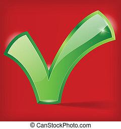 checkmark, fondo verde, ilustración, rojo