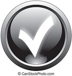 checkmark, garrapata, negro, o, icono