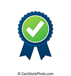 Checkmark. Green approved star sticker on white background. Vector illustration.
