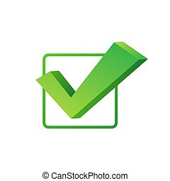 Checkmark. Green approved sticker on white background. Vector stock illustration.
