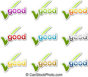 checkmark, guten, motivation, aufkleber