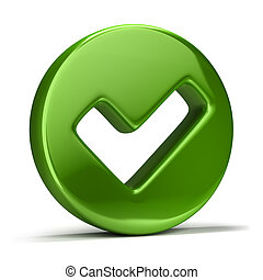 checkmark icon - 3d image. Green checkmark icon. Isolated...