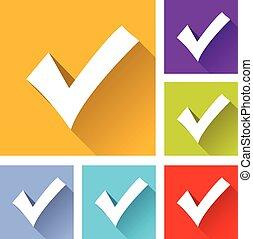 checkmark icons - illustration of flat design set icons for...