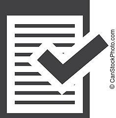 checkmark, illustration, note, arrière-plan., vecteur, noir, blanc, icône