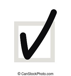 Checkmark in square icon, flat style