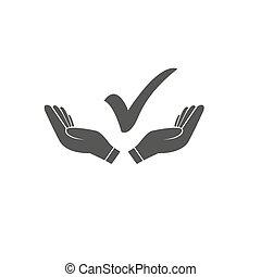 Checkmark On Hand Icon Vector Illustration.