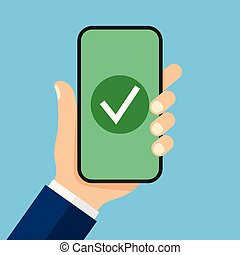 Checkmark on smartphone screen