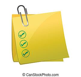 checkmark post it yellow illustration design over white...