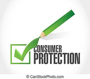 checkmark, protezione, consumatore, illustrazione